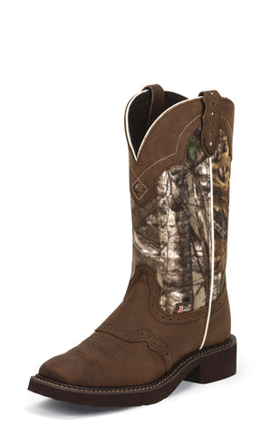 Justin Womens Aged Bark Leather Western Boots 12in Gypsy Camo