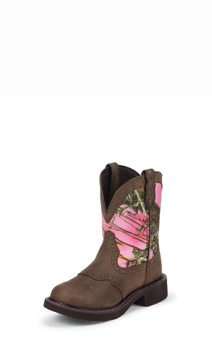 Justin Womens Pink Leather Western Boots 8in Gypsy Camo
