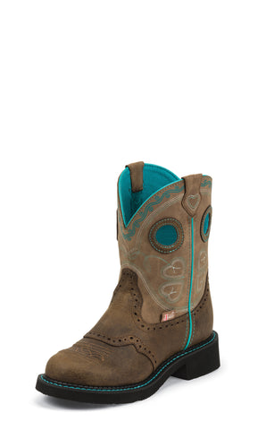 Justin Womens Brown Leather Western Boots 8in Gypsy Blue