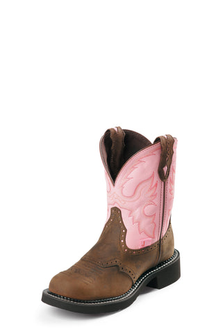 Justin Womens Pink Cow Leather Western Boots 8in Gypsy Brown