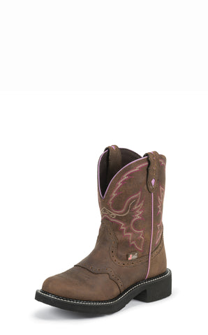 Justin Womens Brown Leather Western Boots 8in Gypsy Aged Bark