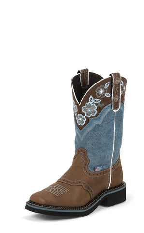 Justin Womens Dusty Blue Leather Western Boots 11in Gypsy Floral