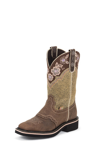 Justin Womens Brown Leather Western Boots 11in Gypsy Floral