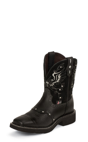 Justin Womens Black Deercow Leather Western Boots 8in Gypsy Wings