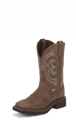 Justin Womens Brown Aged Bark Leather Western Boots 11in Gypsy