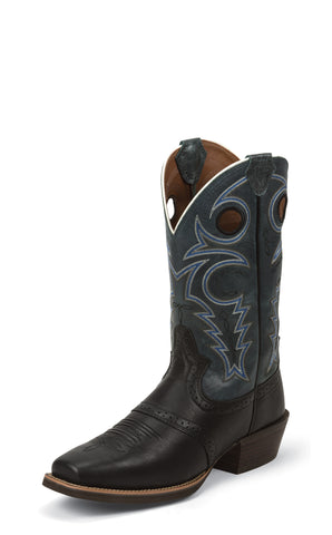 Justin Mens Black Deercow Leather Western Boots Saddle