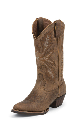 Justin Womens Puma Leather Western Boots Silver Collection 12in