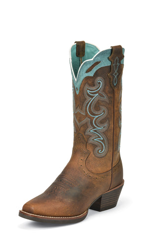 Justin Womens Tan Buffalo Leather Western Boots Silver Collection