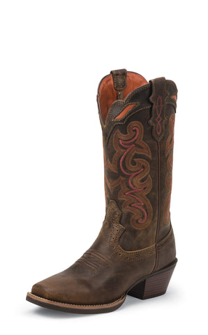 Justin Womens Coffee Waxy Leather Western Boots Silver Collection