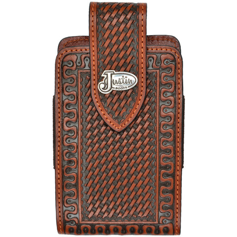 Justin Tan Leather Smartphone Holder Basketweave Hand Tooled