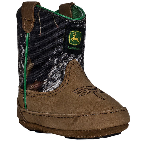 Johnny Popper Crib Boys Camo Leather Classic Pull-On Cowboy Boots