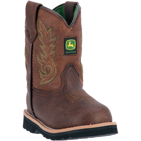 Johnny Popper Infant Chestnut Faux Leather Embroidered Cowboy Boots