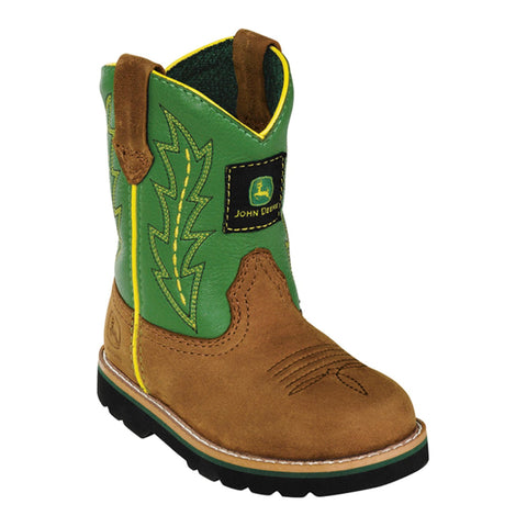 Johnny Popper Infant Boys Green Leather Classic Pull-On Cowboy Boots