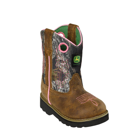 Johnny Popper Infant Girls Brown Leather Classic Pull-On Cowboy Boots