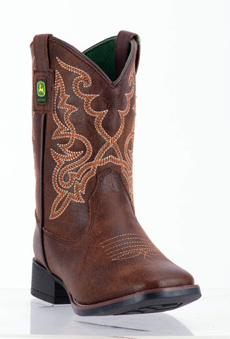 John Deere Children Boys Med Brown Faux Leather Everyday Cowboy Boots