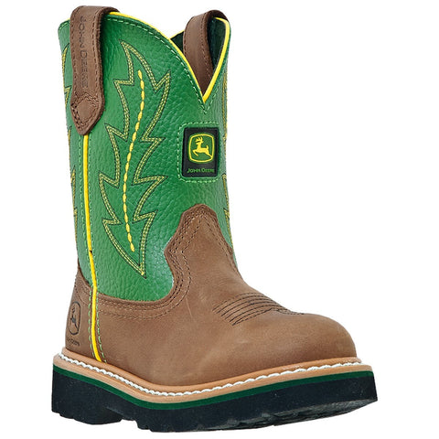 John Deere Children Boys Green Leather Classic Pull-On Cowboy Boots