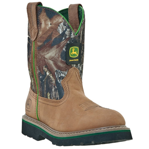 John Deere Children Boys Mossy Leather Classic Pull-On Cowboy Boots