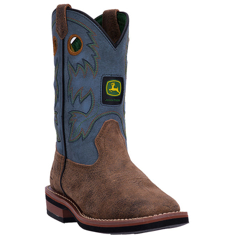 John Deere Children Blue Tan Leather Sq Toe Pull-On Cowboy Boots