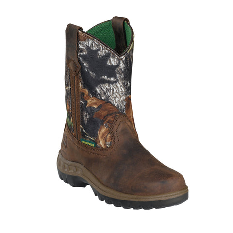 John Deere Children Boys Camo Leather Waterproof Pull-On Cowboy Boots