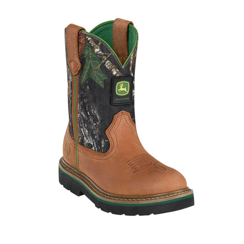 John Deere Youth Boys Camo Mossy Oak Leather Classic Pull-On Cowboy Boots