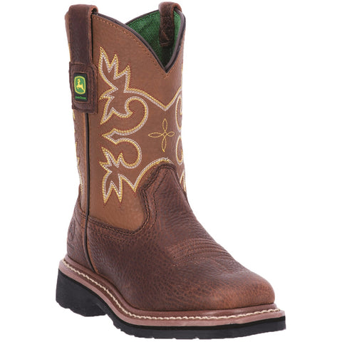 Johnny Popper Youth Mesquite Leather Square Toe Mid-Calf Cowboy Boots