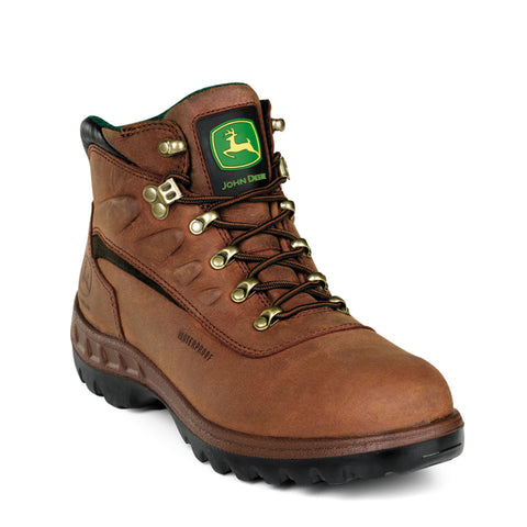 John Deere Mens Tan Leather Waterproof 5in Hiker Steel Toe Hiking Boots