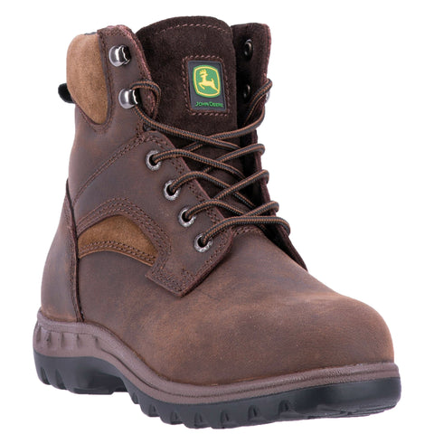 John Deere Mens Brown Leather Steel Toe Work Boots Boots