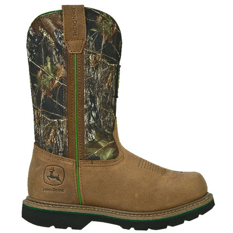 John Deere Mens Tan Leather 11in Pull On Camo Steel Toe Cowboy Work Boots