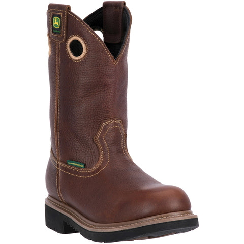 John Deere Mens Brown Leather Pull-On 11in WP Steel Toe Work Boots