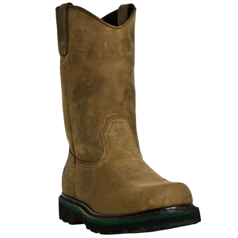 John Deere Mens Tan Leather 11in Buck Pull-On Digger Work Boots