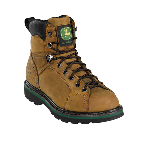 John Deere Mens Tan Leather 6in Buck Lace-To-Toe Digger Work Boots