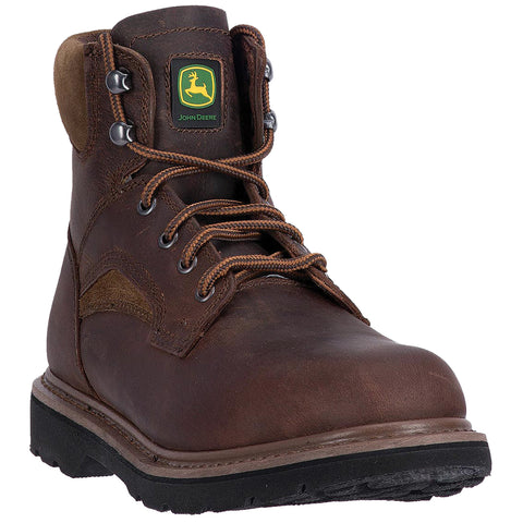 John Deere Mens Brown Leather 6in Lace-Up Work Boots