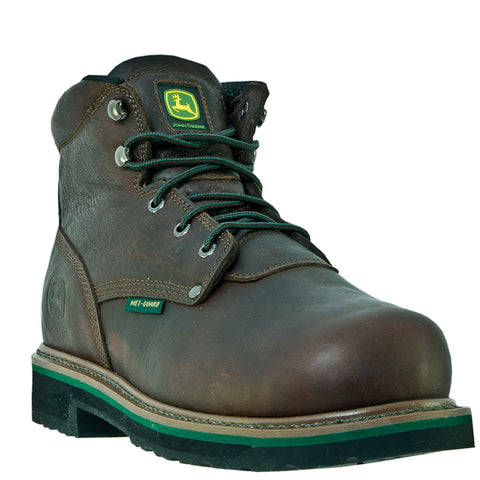 John Deere Mens Dark Brown Oiled Leather 6in Lace-Up Steel Toe Work Boots