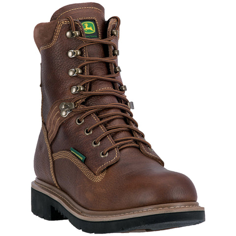 John Deere Mens Brown Leather 8in WP Lace-Up Work Boots