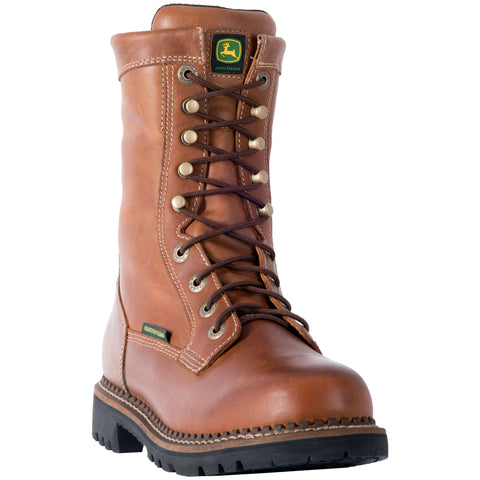 John Deere Mens Mahogany Leather Round Toe Work Boots