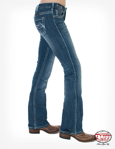 Cowgirl Tuff Womens Medium Wash Cotton Blend Jeans Edgy