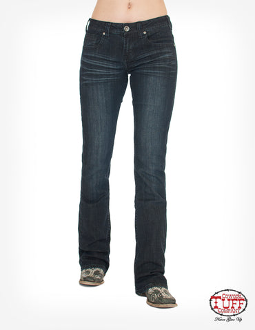 Cowgirl Tuff Womens Dark Wash Cotton Blend Jeans Forever