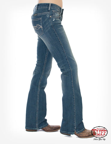 Cowgirl Tuff Womens Medium Wash Cotton Blend Jeans Inspire