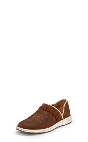 Justin Southwestern Womens Walnut Poly Leather Slip-On Shoes