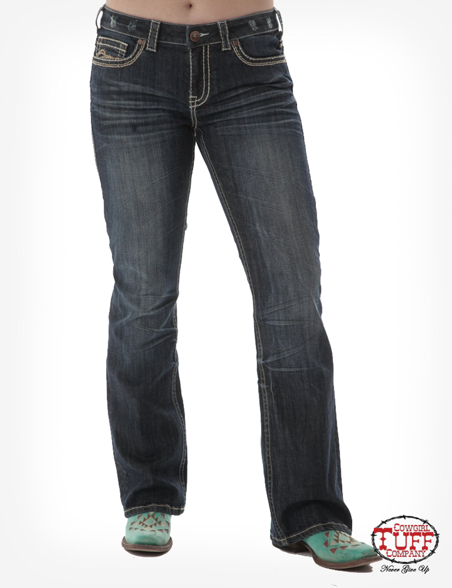 925114af422 Cowgirl Tuff Womens Dark Wash Cotton Blend Jeans No Limits – The ...