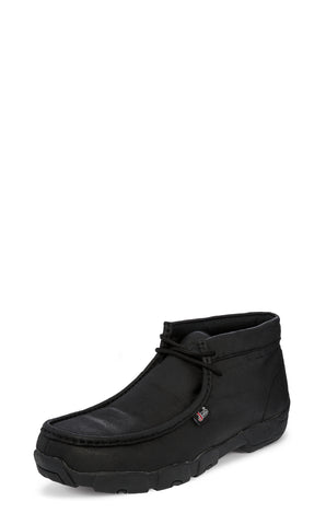 Justin Mens Black Cappie Buffalo Work Boots