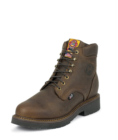 Justin Mens Gaucho Leather Work Boots Steel Toe Rugged J-Max