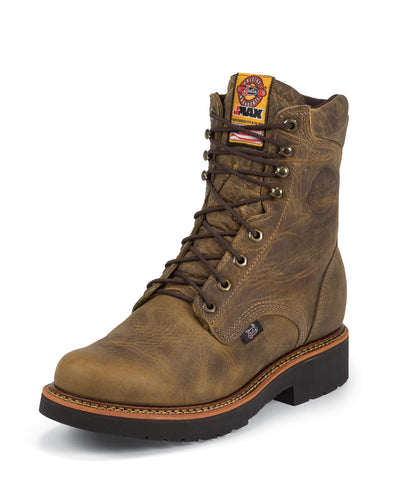 Justin Mens Gaucho Leather Work Boots 8in Rugged J-Max Steel Toe