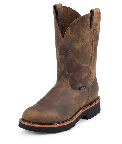 Justin Mens Tan Leather Work Boots Rugged Steel Toe Pull-On