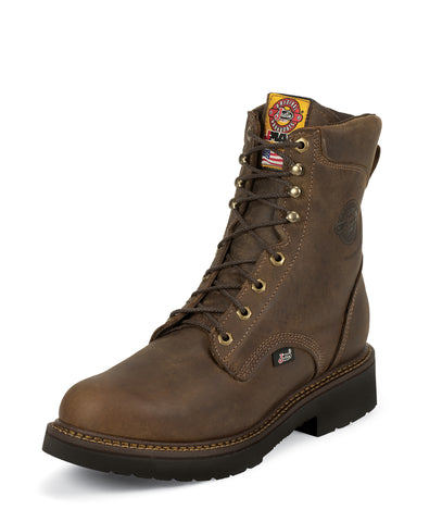 Justin Mens Bay Leather Work Boots 8in Rugged J-Max Steel Toe