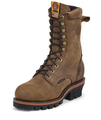 Justin Mens Bark Leather Work Boots 10in WP Steel Toe Logger J-Max