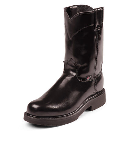 Justin Mens Black Melo Veal Leather Work Boots Pull-On Double Comfort