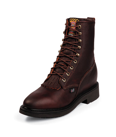 Justin Mens Briar Leather Work Boots Kiltie Lace-Up Double Comfort