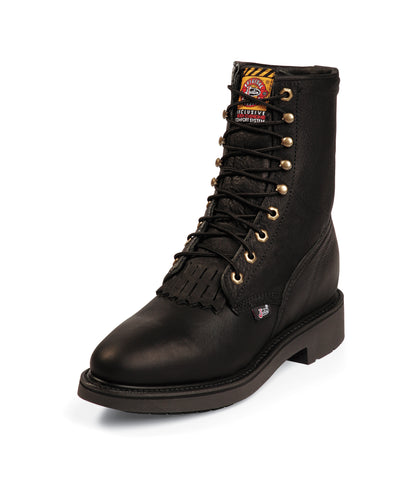 Justin Mens Black Leather Work Boots Kiltie Lace-Up Double Comfort