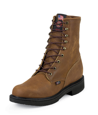 Justin Mens Bark Leather Work Boots 8in Steel Toe Double Comfort